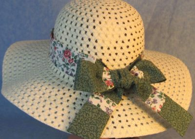 Hat Band in Pink Roses Purple Blue Flowers Patchwork Green Flowers-back