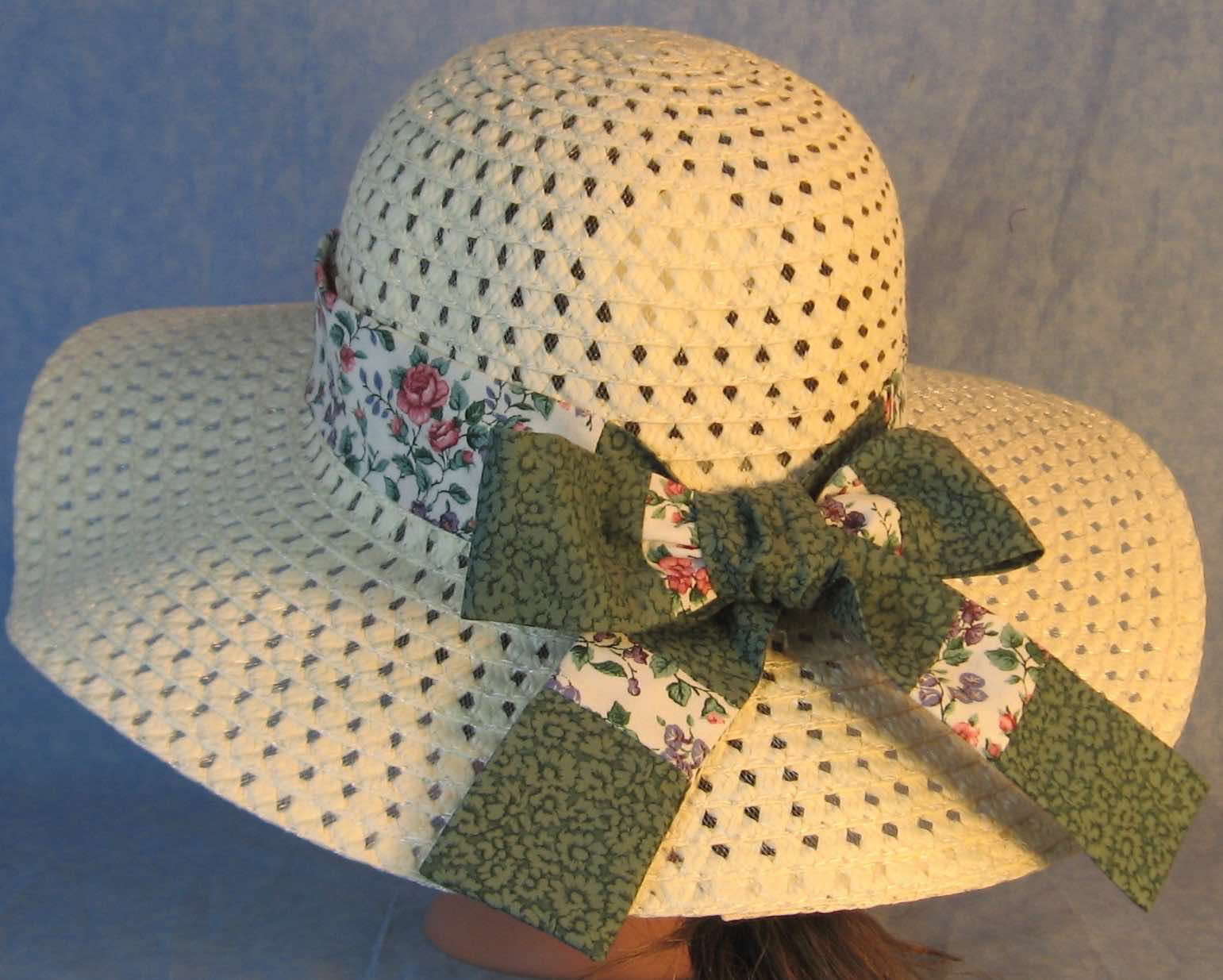 Hat Band-Pink Roses Purple Blue Flowers Patchwork Green Flowers-back