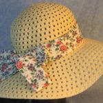 Hat Band in Pink Roses Purple Blue Flowers-back