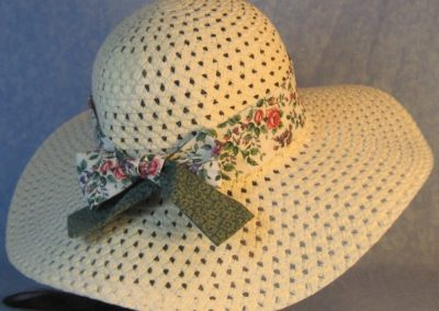 Hat Band in Pink Roses Purple Blue Flowers with Green Flowers Ties-back