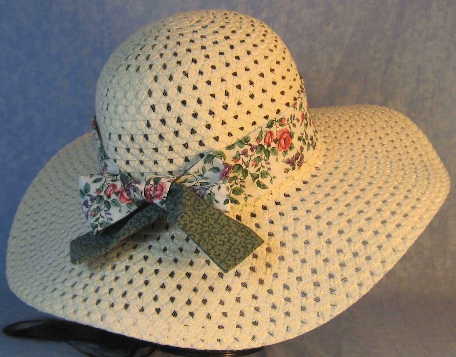Hat Band-Pink Roses Purple Blue Flowers with Green Flowers Ties-back