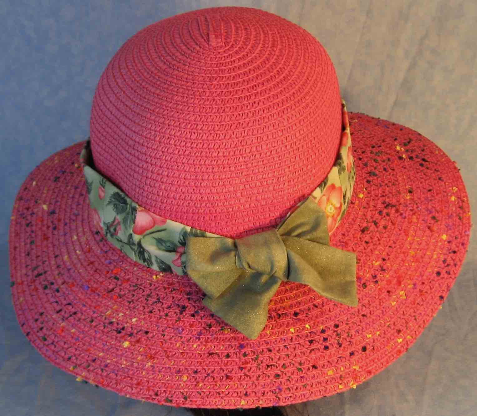 Hat Band-Pink Roses on Green with Green Ties-back