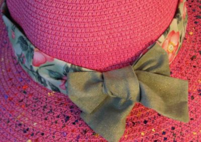 Hat Band in Pink Roses on Green with Green Ties-closeup