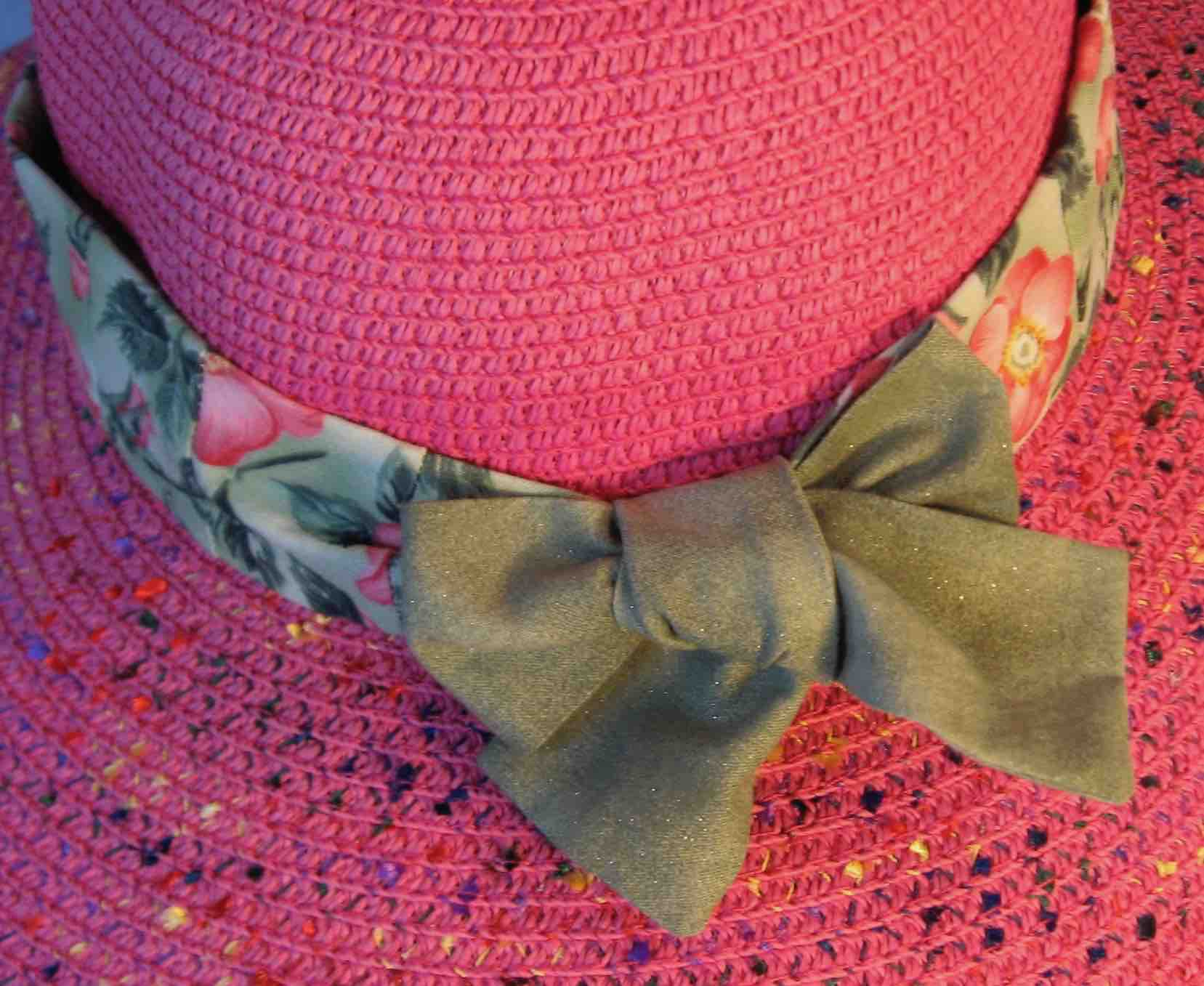 Hat Band-Pink Roses on Green with Green Ties-closeup