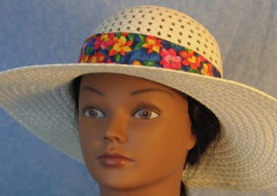 Hat Band in Pink Yellow Orange Columbine Flowers on Blue-front