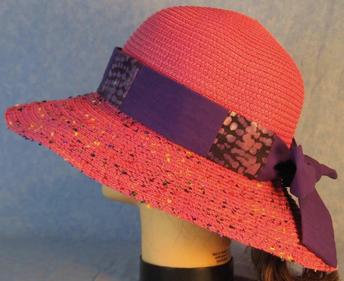 Hat Band-Purple Batik Patchwork Purple-left