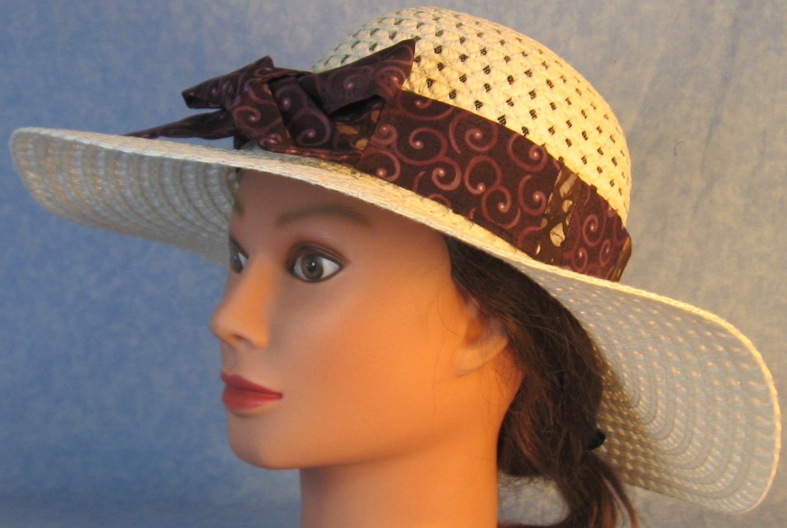 Floppy Hat Band-Purple Plum Curls on Plum Patchwork Purple Batik