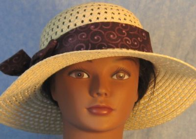 Hat Band in Purple Plum Curls on Plum-front