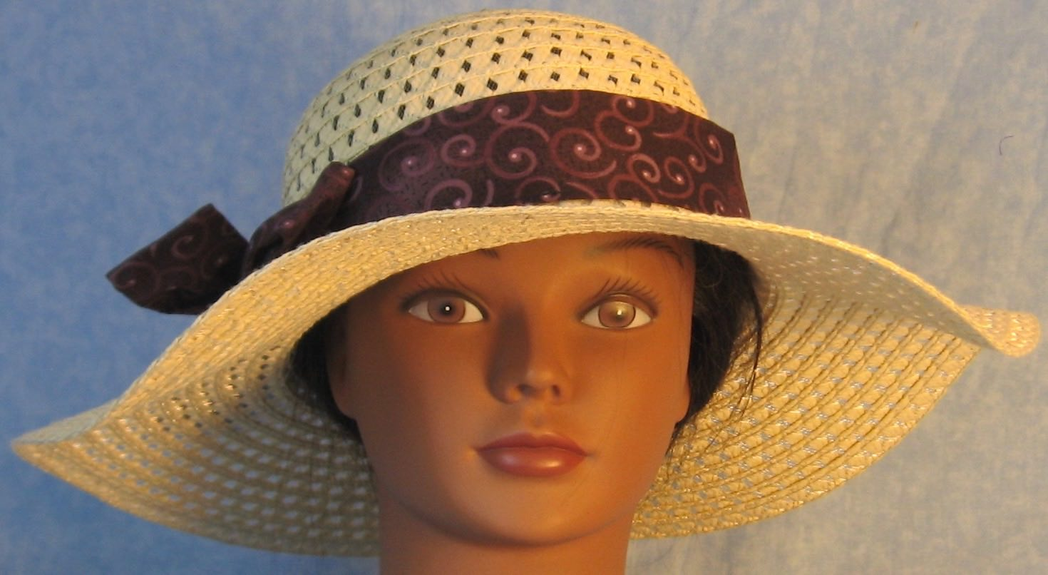 Floppy Hat Band-Purple Plum Curls on Plum