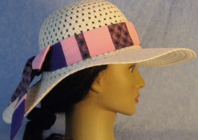 Hat Band in Purple Striped Teardrops Patchwork Pink and Purple-right