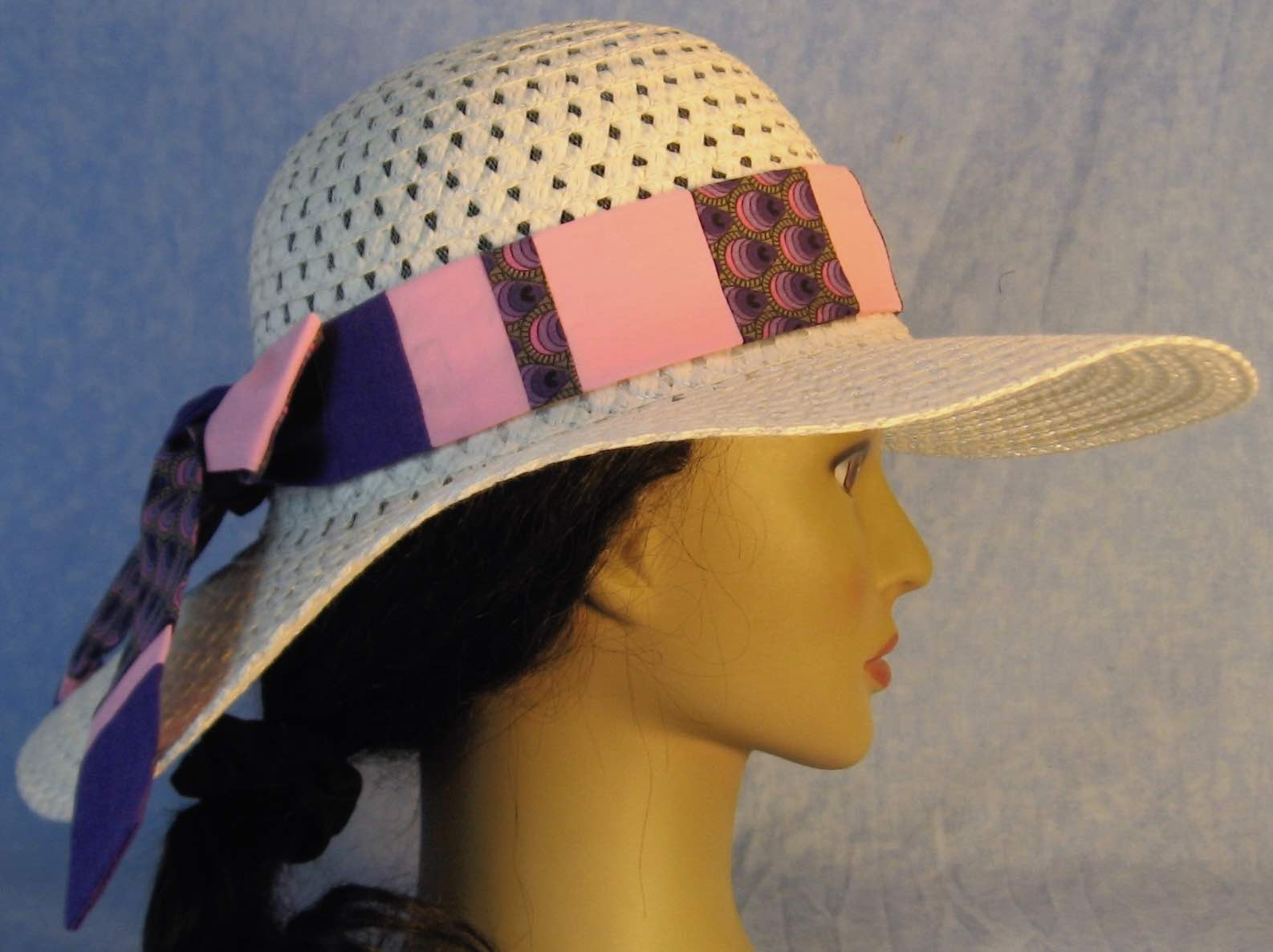 Floppy Hat Band-Purple Striped Teardrops Patchwork Pink and Purple