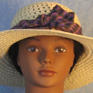 Hat Band in Purple Striped Teardrops-front