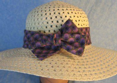 Hat Band in Purple Striped Teardrops-top