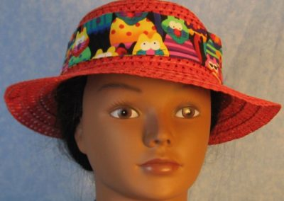 Hat Band in Rainbow Cats on Black with Black Ties-front