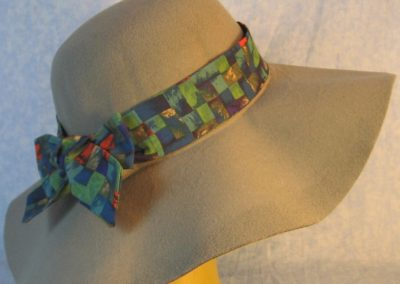 Hat Band in Red Blue Purple Green Square Basket-right back