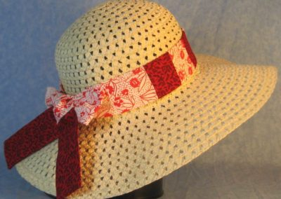 Hat Band in Red Flower Dots on White Patchwork Black Ink Flowers on Red-back