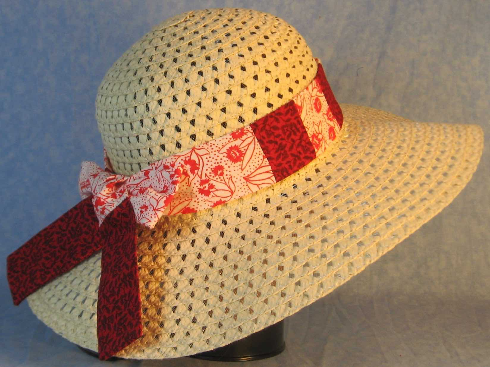 Hat Band-Red Flower Dots on White Patchwork Black Ink Flowers on Red-right back