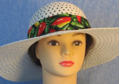 Hat Band in Red Green Peppers with Red Ties-front