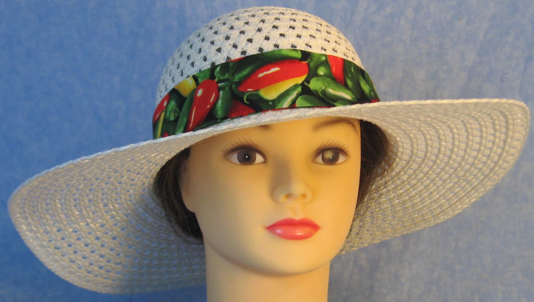 Hat Band-Red Green Peppers with Red Ties-front