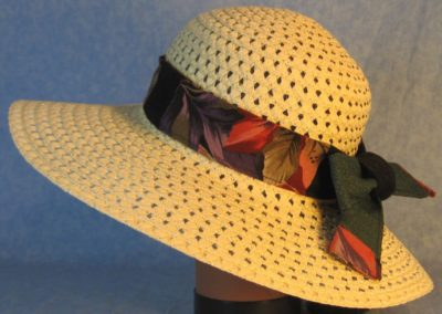 Hat Band in Red Purple Leaves Patchwork Green and Black Diamond-left