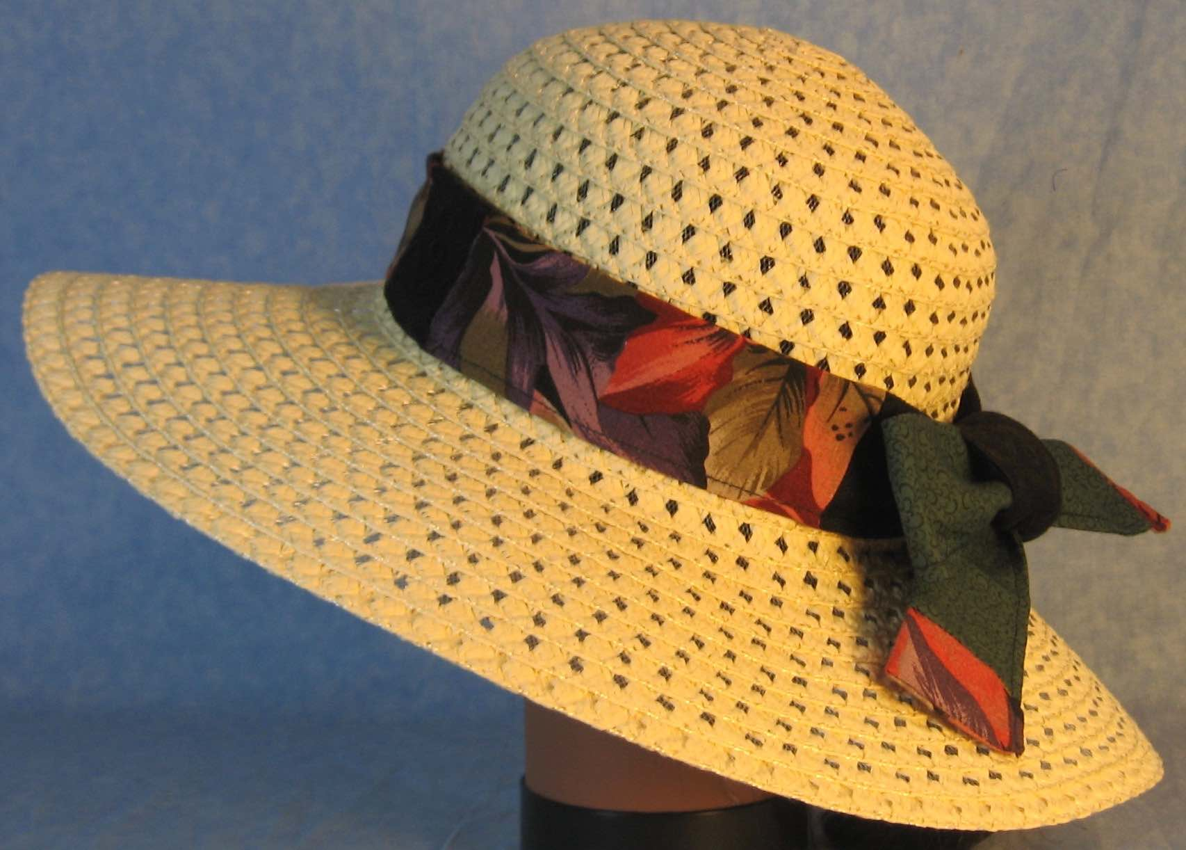 Floppy Hat Band-Red Purple Leaves Patchwork Green and Black
