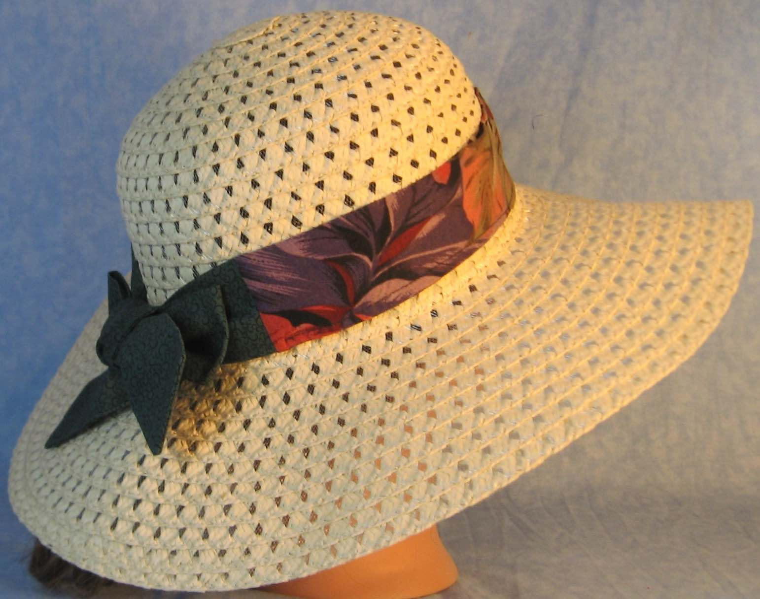 Floppy Hat Band-Red Purple Leaves with Green Flowers Ties