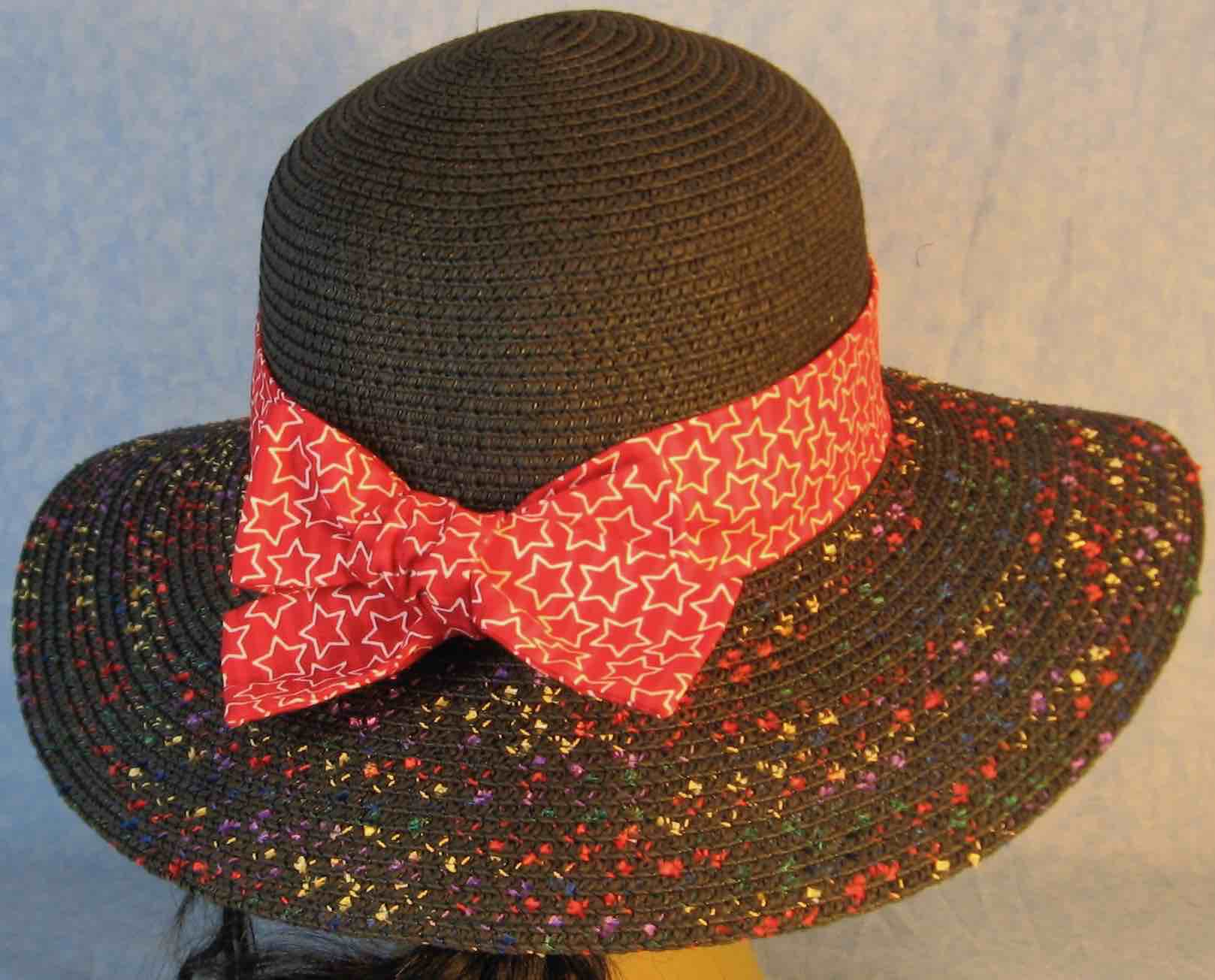 Hat Band-Red Red Stripe With White Line Stars-back