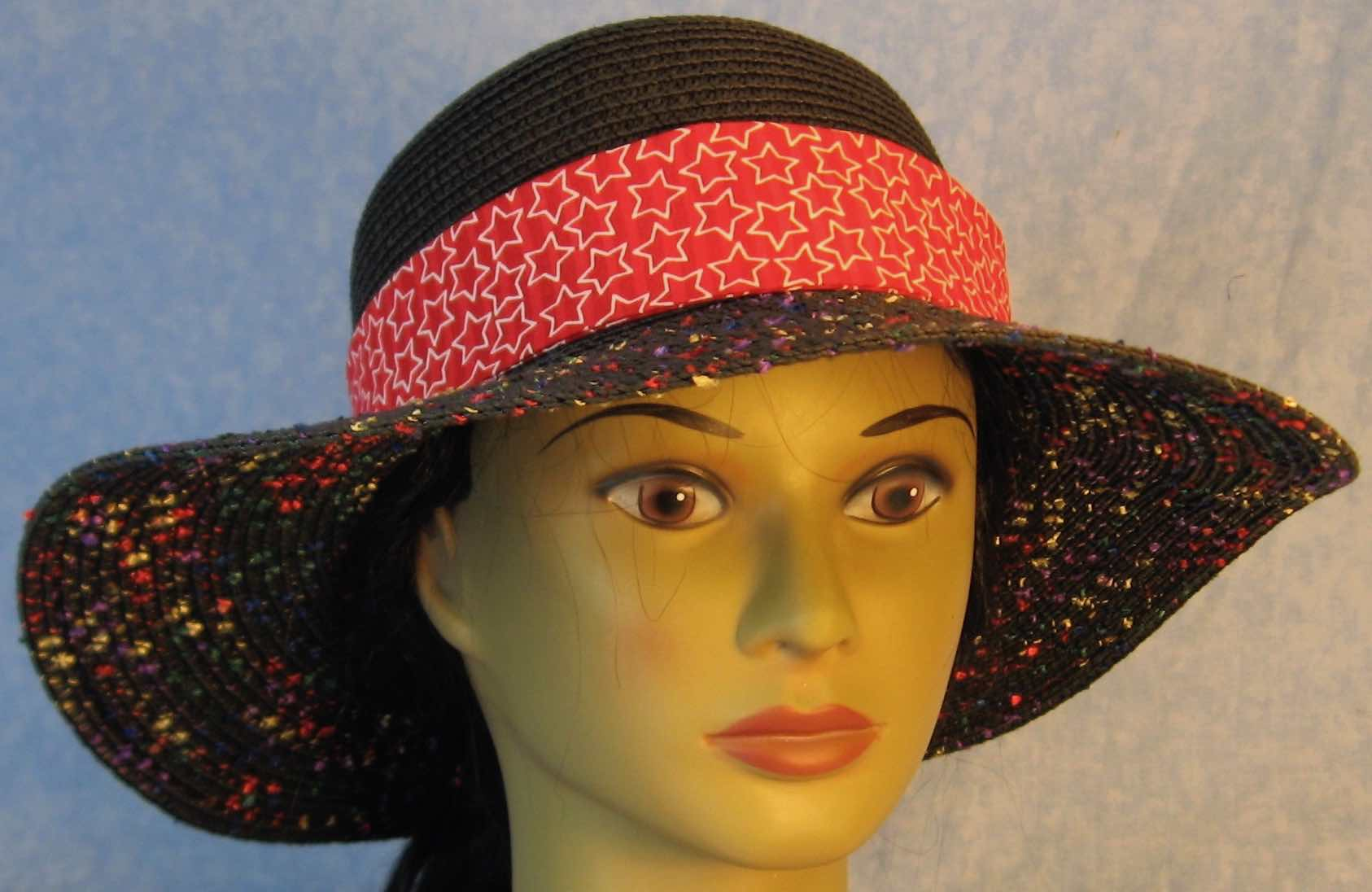 b8100e6d Floppy Hat Band-Red Red Stripe With White Line Stars | Creative Headwear