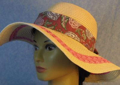 Hat Band in Rose Violet Flowers on Dusty Rose-left