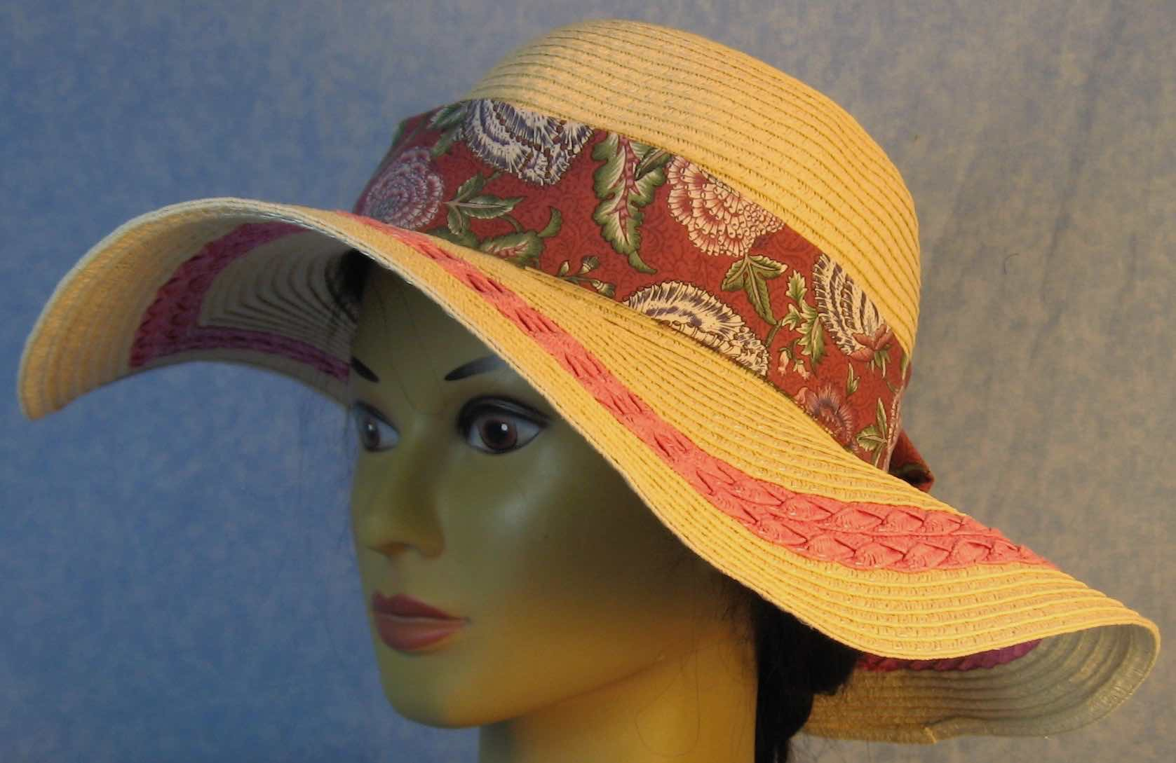 Floppy Hat Band-Rose Violet Flowers on Dusty Rose