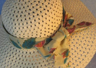 Hat Band in Turquoise Pink Leaves on Tan-closeup