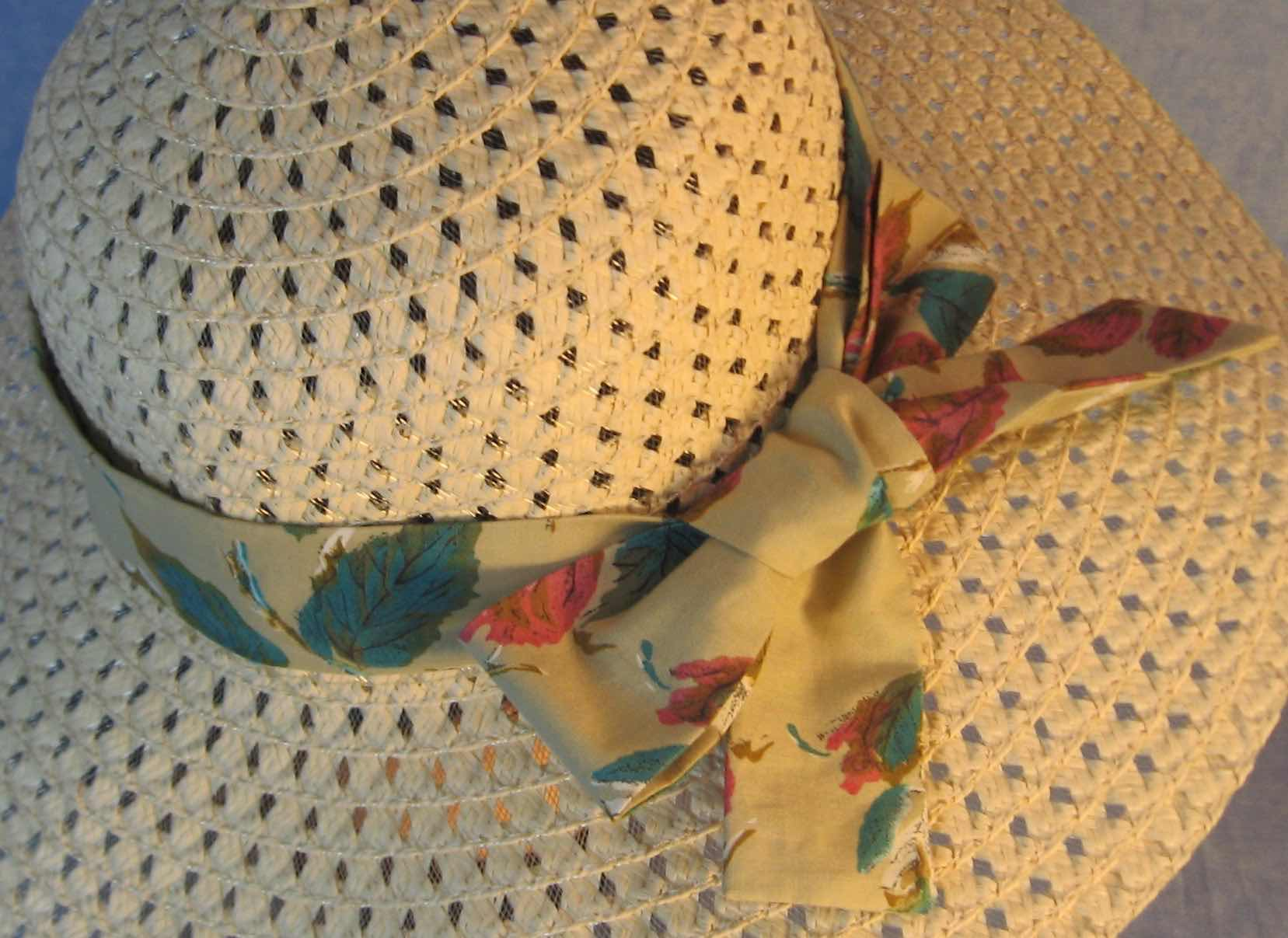 Hat Band-Turquoise Pink Leaves on Tan-closeup
