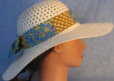 Hat Band in Yellow Blue Purple Pansy Patchwork with Brown Lattice-right