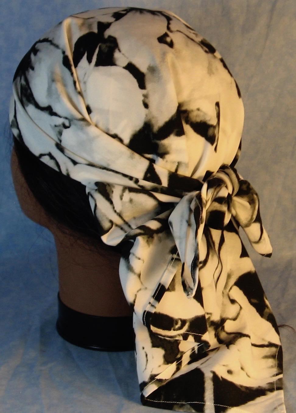 HeadWrap-Black White Large Flower-Wrap-back