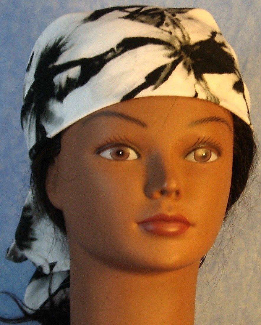 HeadWrap-Black White Large Flower-Wrap-front