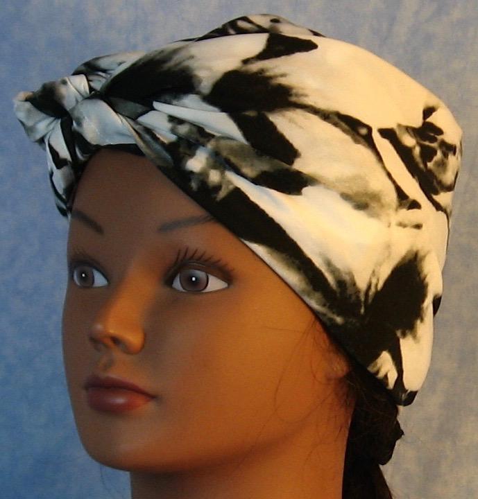 HeadWrap-Black White Large Flower-riveter-front