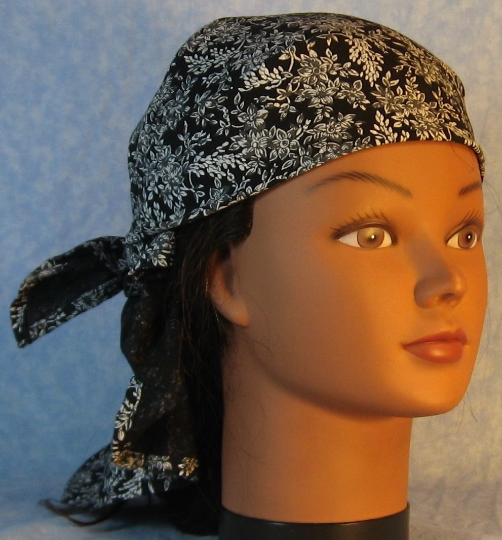 HeadWrap-Gray Flower Branches on Black-wrap-front right