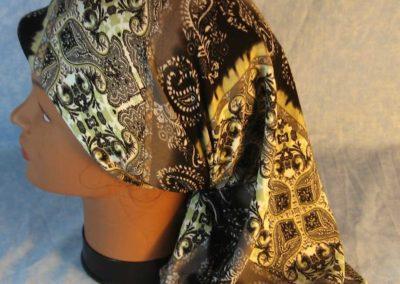 Head Wrap in Green Gray Black Stripe Black Work-scarf-left