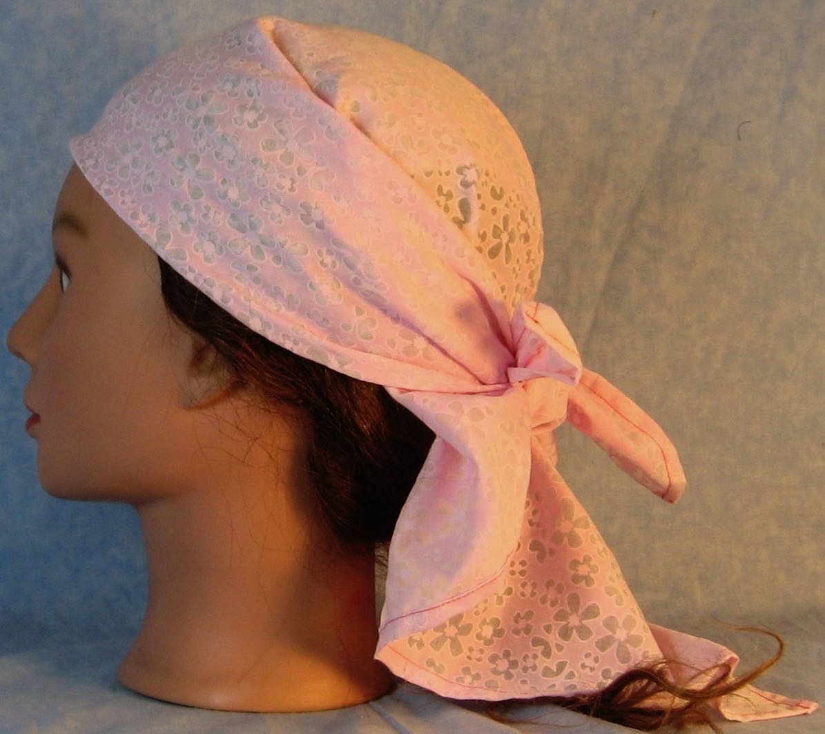 HeadWrap-Pink Sheer Flowers Hand Dyed-wrap-left