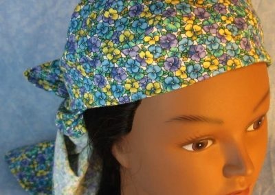 Head Wrap in Yellow Blue Purple Pansy on White-wrap-front top
