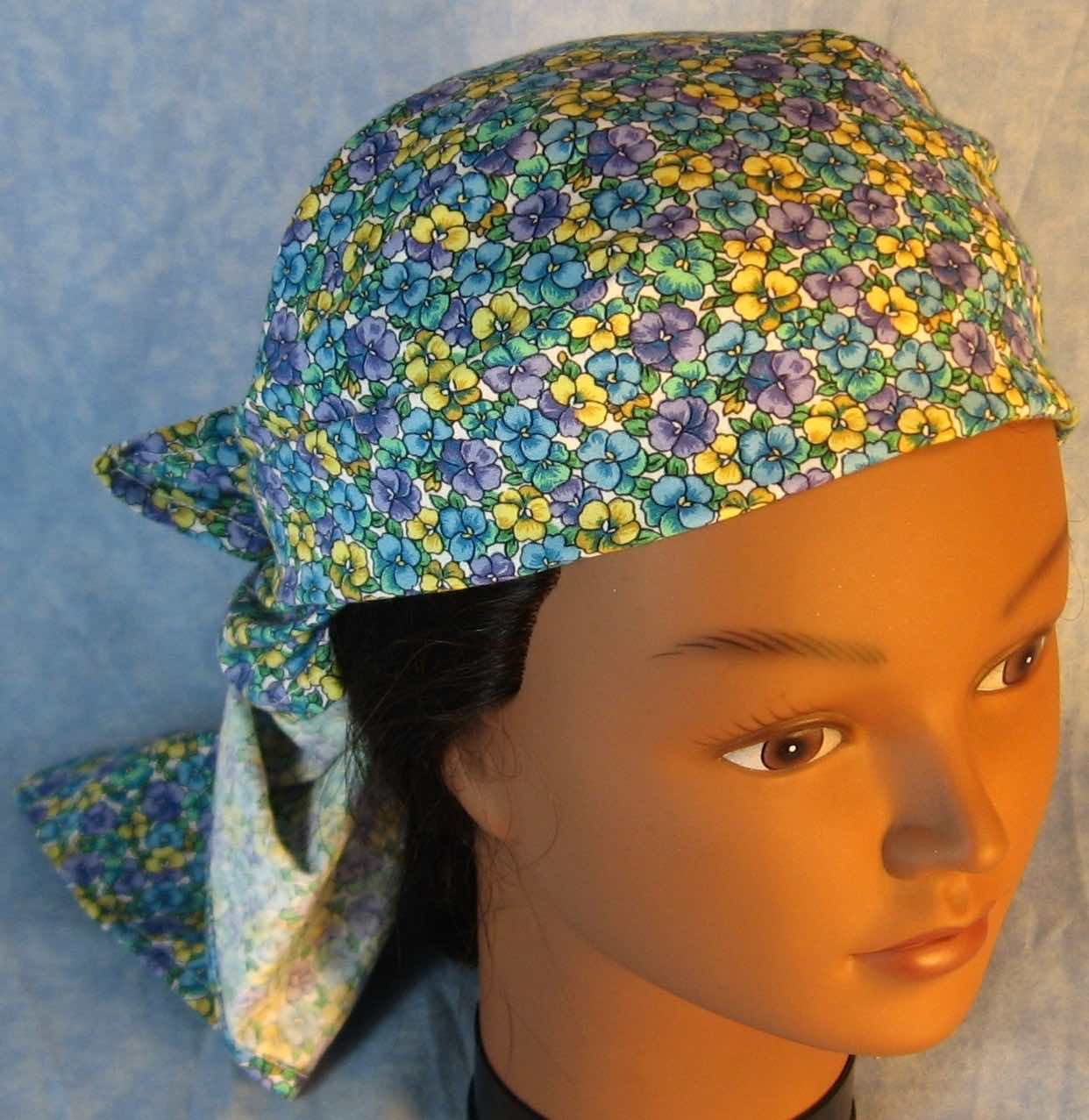 HeadWrap-Yellow Blue Purple Pansy on White-wrap-front top