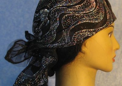 Head Wrap in black tulle with silver flames with tulle-wrap-right