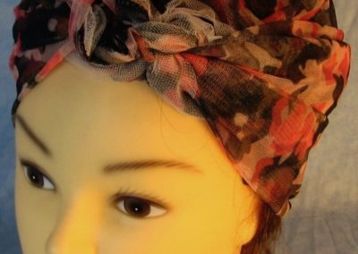 Head Wrap in Pink Camo with Tulle-riveter-top