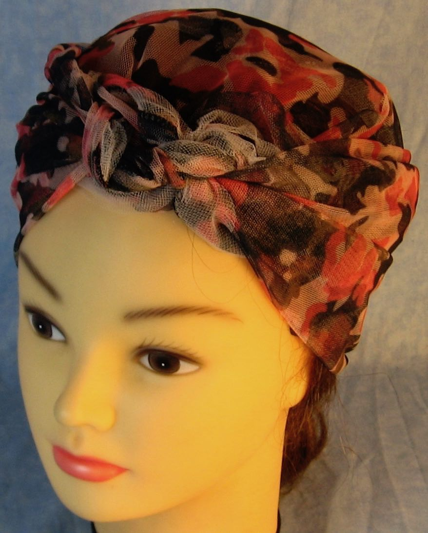 HeadWrap-pink Camo with Tulle-riveter-top