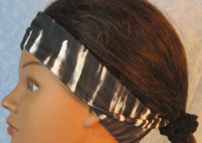 Headband in Black White Tie Dye Stripe-folded left