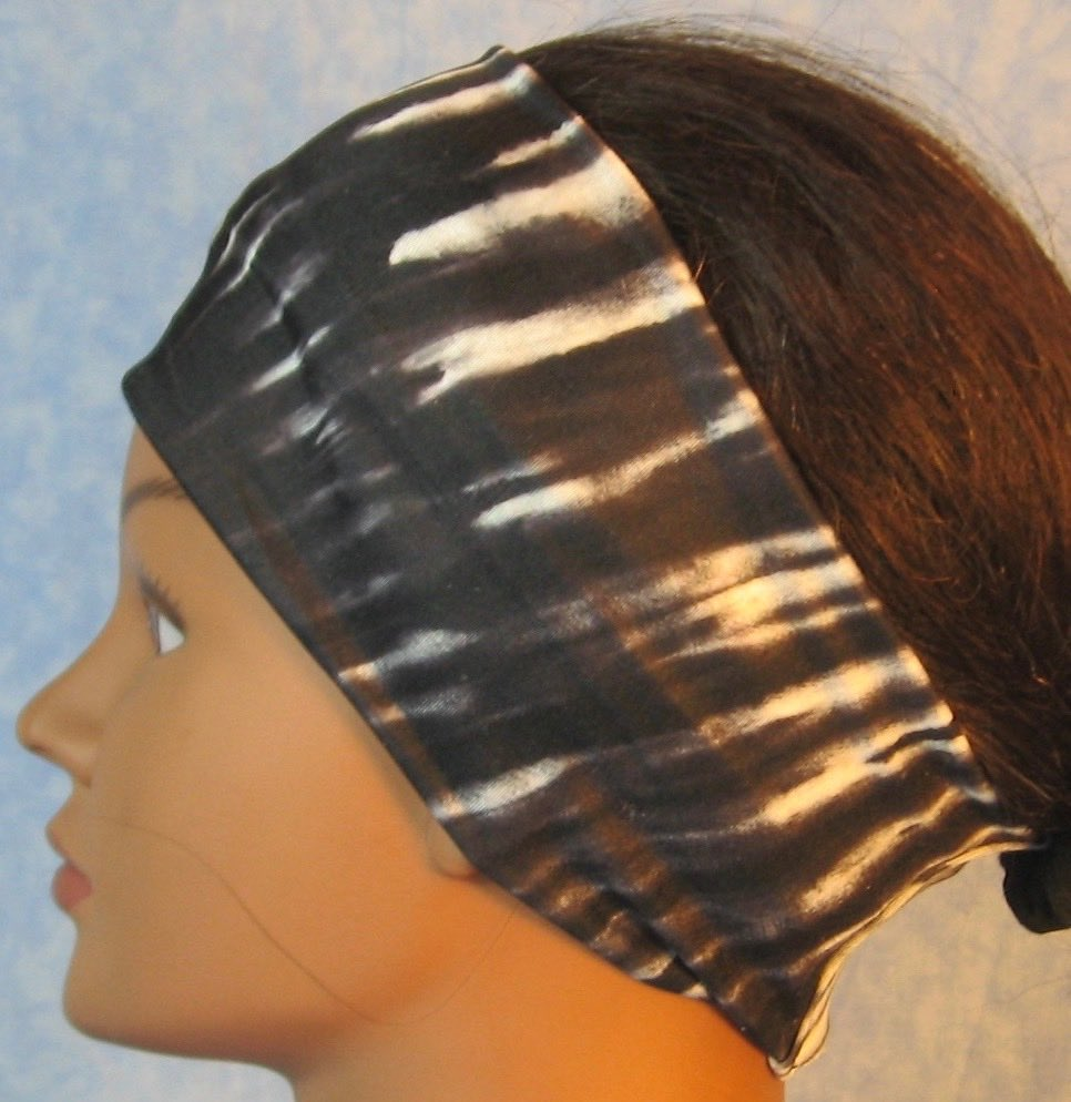 Headband-Black White Tie Dye Stripe-left