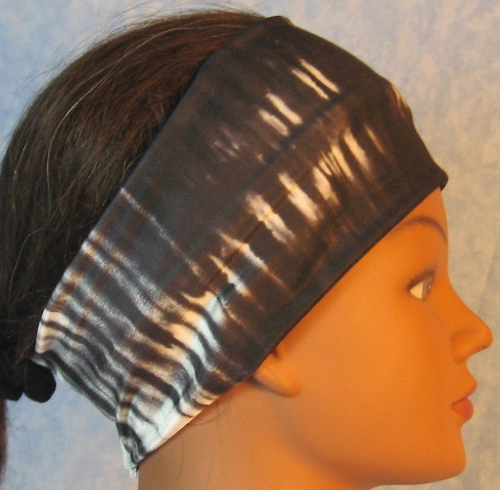 Headband-Black White Tie Dye Stripe-right