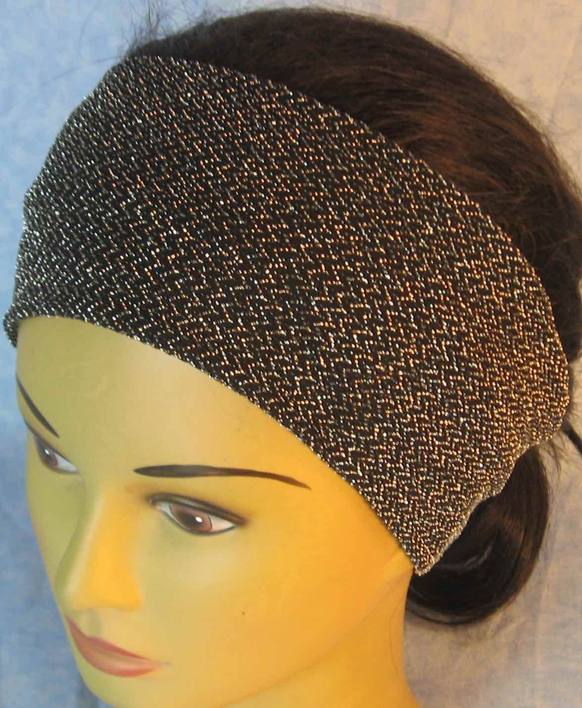 Headband-Black with Silver V's Knit-Adult M