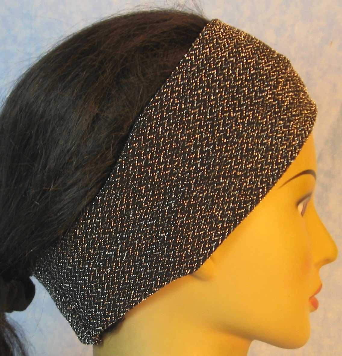 Headband-Black with Silver V's-right