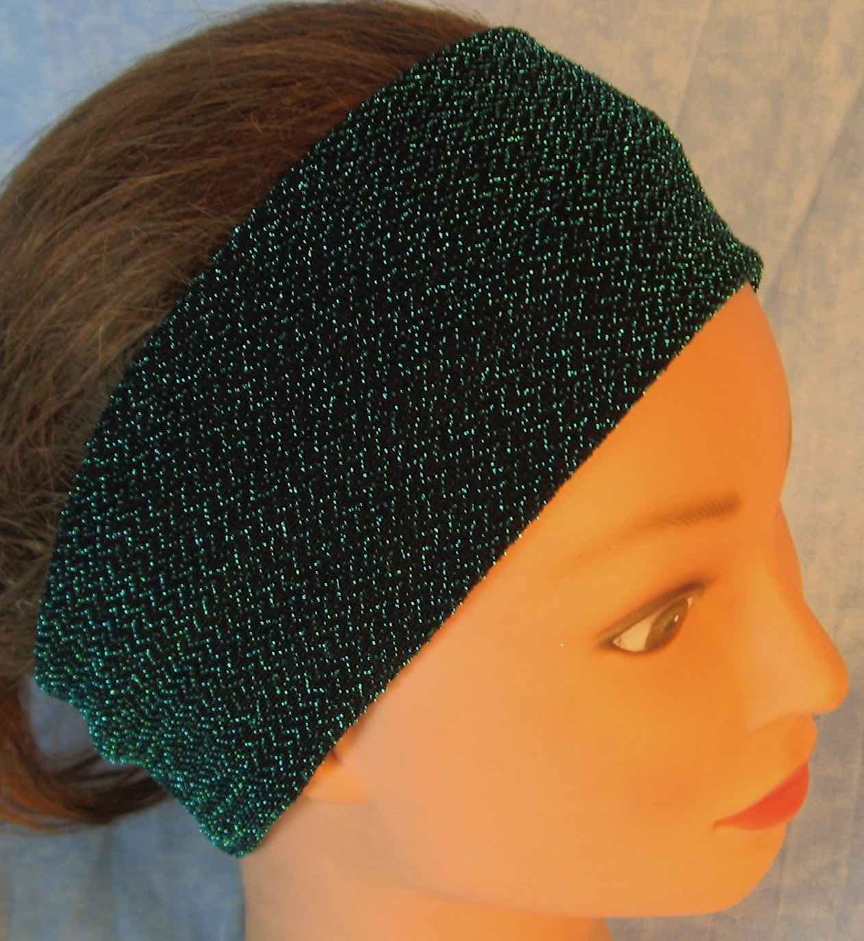 Headband-Black with Teal V's Knit-Adult S